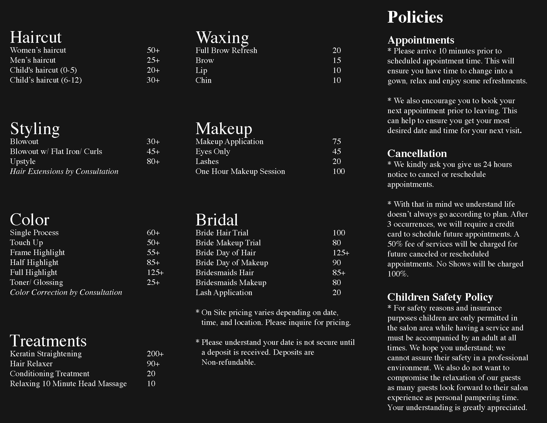 Salon Menu Inside